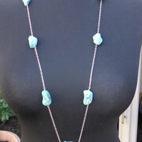 Turquoise Blue Magnasite Nugget and Sterling Silver Necklace