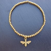 18k Gold Vermeil Ball Stretch Bracelet or Anklet with a 24k Gold Vermeil Bee Cha