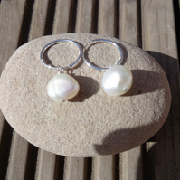 AAA 10.5mm White Potato Pearl Earrings with Sterling Silver 16mm Hoops and Lovel