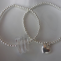 Sterling Silver Ball Bracelets with Silver Heart or 3 Rock Crystal Slices in Sho
