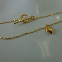 18k Gold Vermeil Chain Bracelet or Anklet with Gold Vermeil Toggle Clasp and 22k