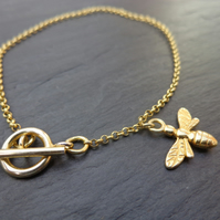 Gold Vermeil Bee Charm bracelet or anklet with beautiful hand tied gift wrap