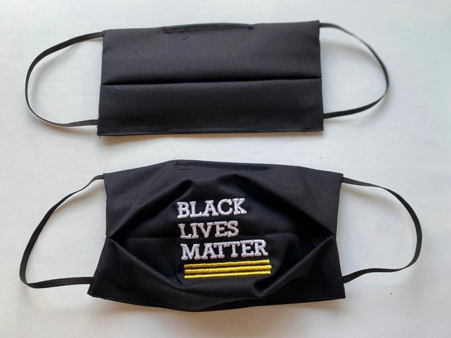 BLACK LIVES MATTER Embroidered Face Mask Cover with filter pocket. Superior qual