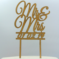 Custom Mr & Mrs With Date Cake Topper, Wedding Cake Topper