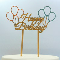 Happy Birthday With Balloons Cake Topper, Happy Birthday Cake Topper