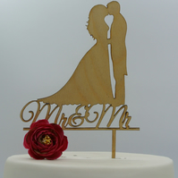 Mr & Mrs Couple Kissing Wedding Cake Topper, Wedding Cake Topper