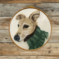 Framed  Custom 2D Needle Felt Dog Portrait