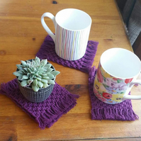 Set of 4 square macrame coasters in a gorgeous Berry cotton cord