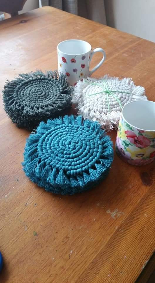 Set of 4 Macrame spiral coasters in teal, natural and olive green cotton cord