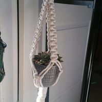 Mini macrame plant hanger for succulents or cacti