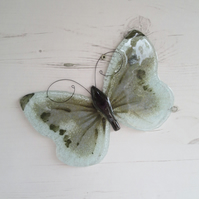 Grey Cabbage White Butterfly Window Hanging - Fused Glass Sun Catcher - Garden