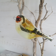 Goldfinch Garden Bird - Fused Glass Hanging - Sun Catcher - Ornament