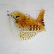 Jenny Wren Garden Bird - Fused Glass Hanging - Sun Catcher - Twitcher's Gift