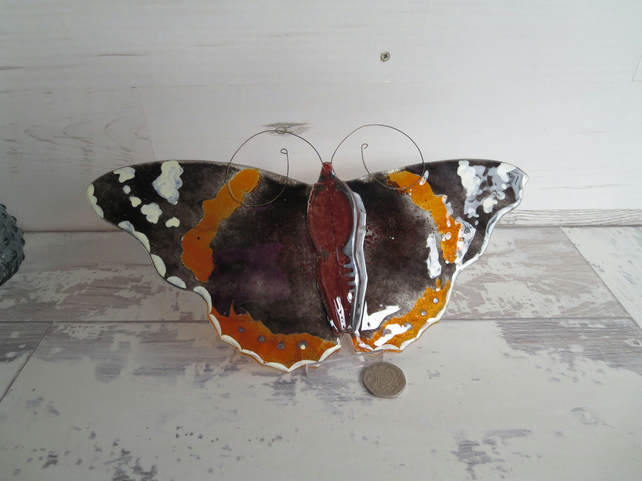 Red Admiral Butterfly Wall Hanging - Fused Glass - Home Decor - Art