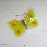 Yellow Brimstone Butterfly Window or Wall Hanging - Fused Glass - Sun Catcher