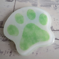Paw Print Coaster - Grass Green Fused Glass - Cat or Dog Shaped Mat