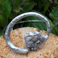Large silver bangle, textured silver bangle bracelet. Reticulated aluminium, nic