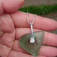 Seaglass pendant. Silver wire wrapped pendant. Seaglass necklace. Triangle green