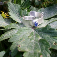 Beautiful blue seaglass gemstone ring, bezel ring, seaglass jewellery blue ring,