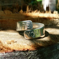 Stamped silver ring band, pure silver ring. Personalised silver ring. Adjustable