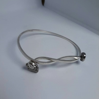 Large silver bangle, Dropcast silver bangle bracelet. Oversized, adjustable, nic