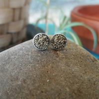 Silver stud earrings, Small silver ball earrings. Silver ball stud earrings, cir