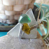 Large seaglass ring, seaglass statement ring, Seaglass jewellery, amber seaglass