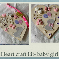 Make your own baby hanging heart -craft kit adults & kids newborn baby girl