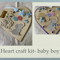Make your own baby hanging heart -craft kit adults & kids newborn baby boy