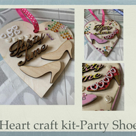 Make your own love hanging heart -craft kit adults & kids party shoes