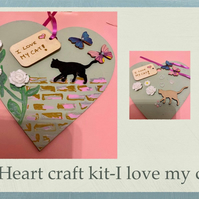 Make your own I love my cat hanging heart -craft kit adults & kids