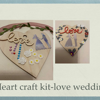 Make your own love wedding bride groom hanging heart -craft kit adults & kids