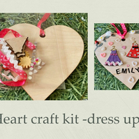 Make your own personalised hanging heart -craft kit adults & kids