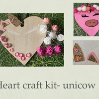 Make your own hanging heart craft kit adults & kids unicorn cow flowers