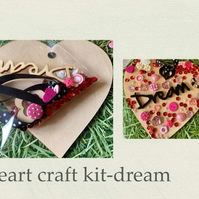 Make your own hanging heart -craft kit adults & kids -Dream