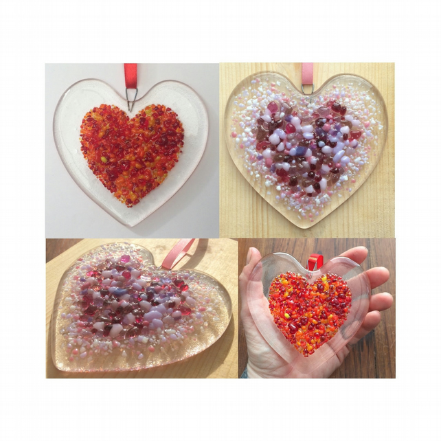 Handmade Fused Glass Red or Pink Love Heart - Hanging Decoartion - Suncatcher