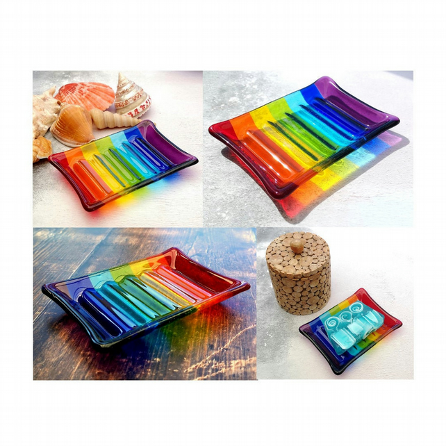 Handmade Fused Glass Rainbow Striped Soap Dish - Colourful Glass - Rainbow Decor