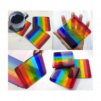Handmade Fused Glass Rainbow Striped Drinks Coaster - Colourful Glass Tile