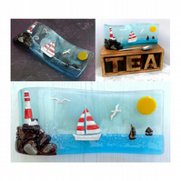 Handmade Fused Glass 3D Lighthouse & Sailing Boats Free Standing Curved Picture