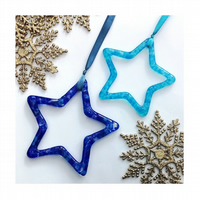 Handmade Fused Glass Hanging Star Outline Decoration - Glass Suncatcher