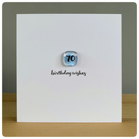 Happy 70th Birthday card with fused glass tile in true blue and hand lettering