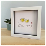 Cute framed dog picture with two fused glass and line drawn dogs