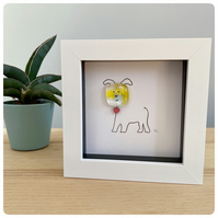 Cute framed dog picture with handmade fused glass and line drawn dog
