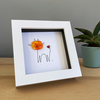 Cute framed cat picture with handmade fused glass and line drawing