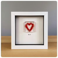 Glass heart picture with a fused glass tile with a red heart and silver sparkles