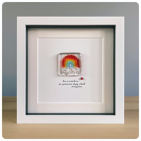 A fused glass rainbow with hand lettered quote in a box frame - charity donation