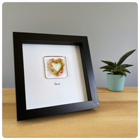 Glass heart picture featuring a fused glass tile with a multi colour heart