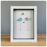 Bird and bee picture in a box frame with two handmade glass birds in blue
