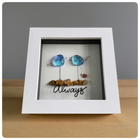 Always picture featuring two unique handmade fused glass birds in tones of blue