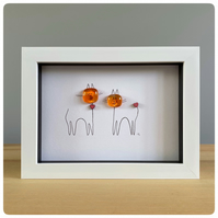 Ginger cat box framed picture with two orange fused glass beads and line drawing